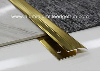 Z Edge Aluminium Carpet Trim , Ceramic Tile To Carpet Transition Strip Gold Color